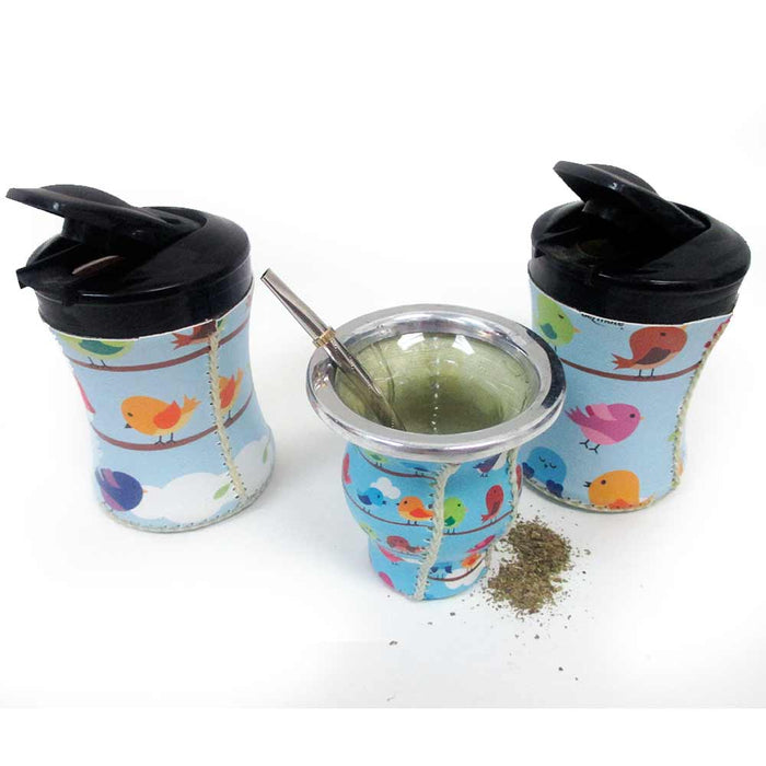 5Pc Argentina Yerba Mate Gourd Kit Cup Straw Bombilla Bag Herb Container Drink 4