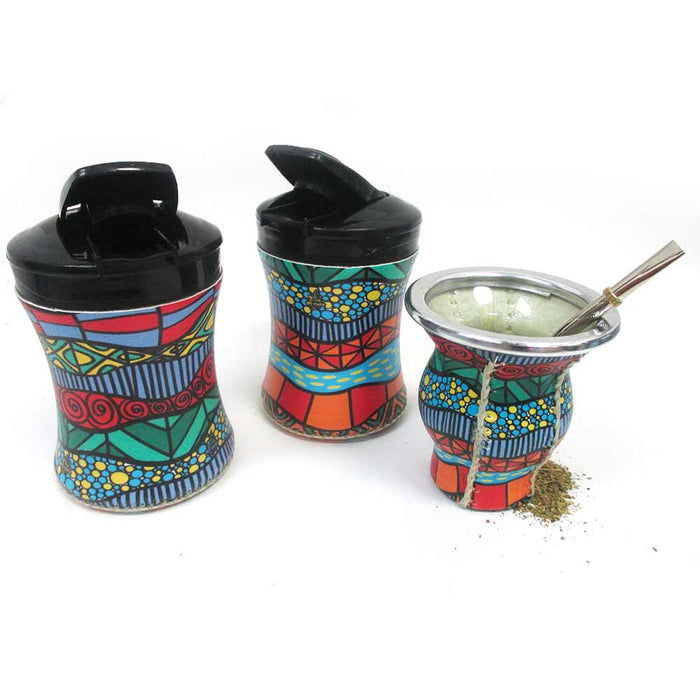 5Pc Argentina Yerba Mate Gourd Kit Cup Straw Bombilla Bag Yerba Container 2548