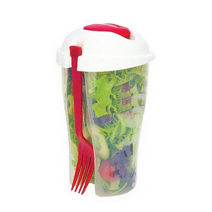 2 Salad Cup Container Serving Shaker Dressing Storage Fork Fruit Food On The Go