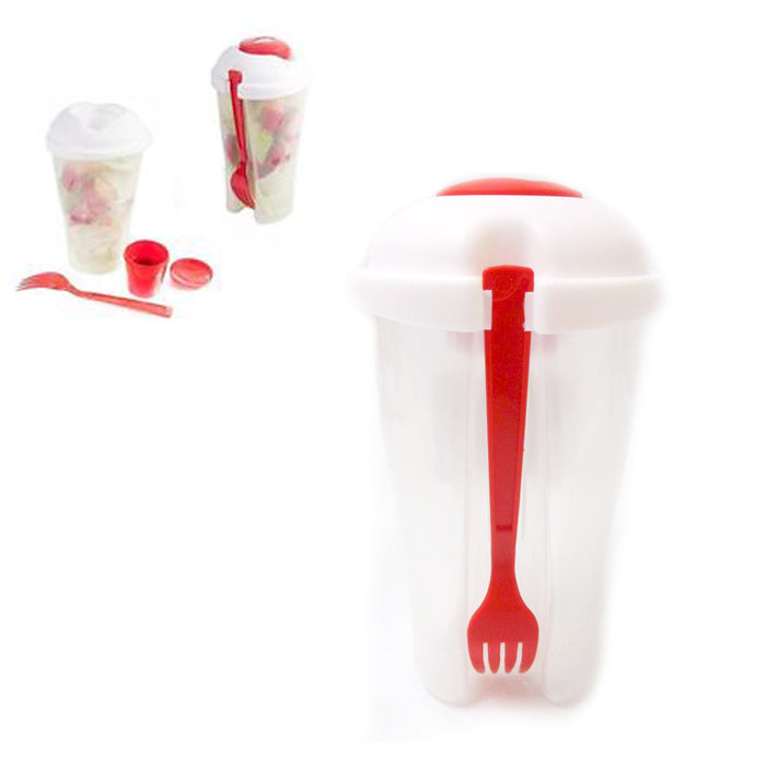 4 Salad Cup Container Serving Shaker Dressing Storage Fork Fruit Food On The Go