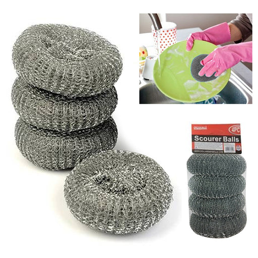 4 Scourer Steel Wire Mesh Ball Pads Kitchen Scrub Cleaning Pan Cleaner Scouring