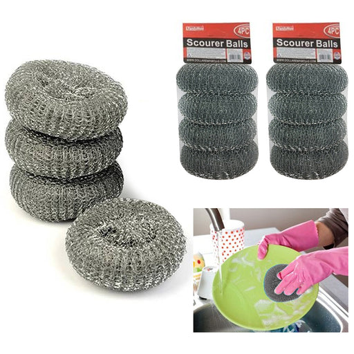 8 Scourer Steel Wire Mesh Ball Pads Kitchen Scrub Cleaning Pan Cleaner Scouring