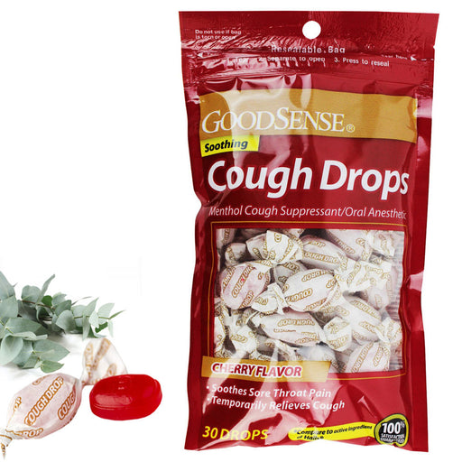 30 Count Cough Drops Cherry Flavor Relief Soothing Cough Suppressant Throat Pain