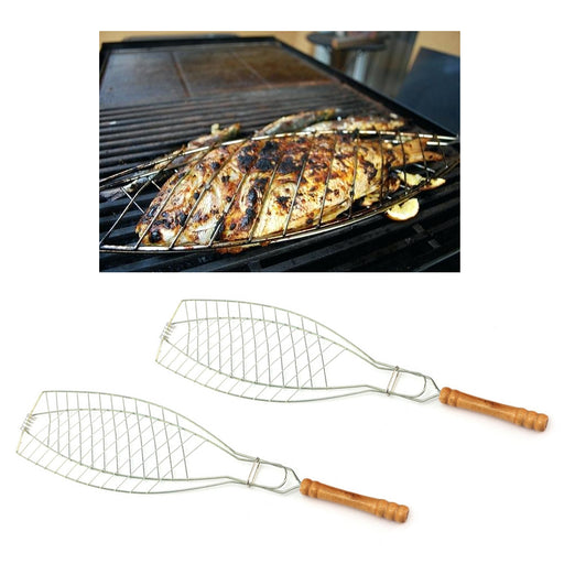 2 Pc Set BBQ Barbecue Grill Basket Folder Tool Fish Steak Chicken Meat Vegetable