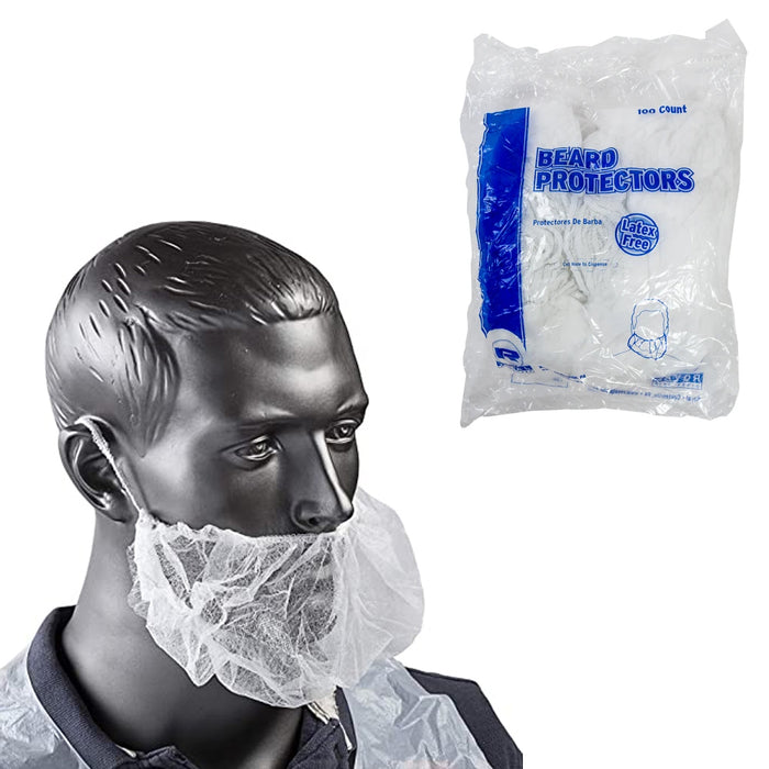 100 Pcs Disposable Beard Cover Hair Net Face Protector Latex Free White Kitchen