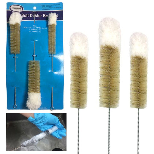 3pc Wire Tube Brushes Duster Cleaner Brush Set Soft Tip Bird Feeder Cleaning Kit
