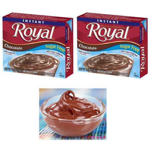 2 Packs Royal Instant Pudding Chocolate Dessert Mix Filling Fat Free 1.85oz Each