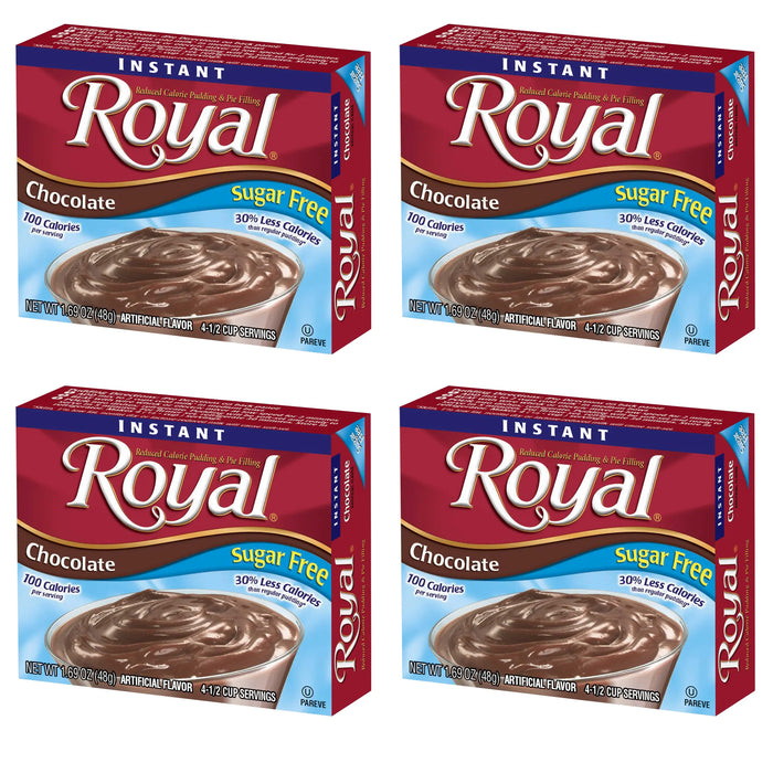 4 Packs Royal Instant Pudding Chocolate Dessert Mix Filling Fat Free 1.85oz Each