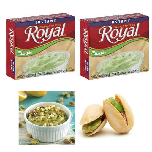 2 Packs Royal Instant Pudding Pistachio Dessert Mix Filling Fat Free 1.85oz Each