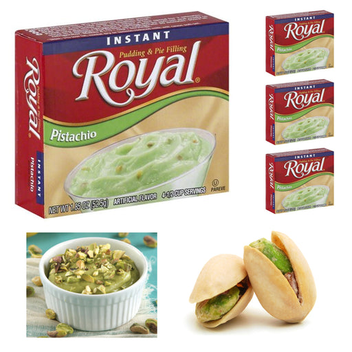4 Packs Royal Instant Pudding Pistachio Dessert Mix Filling Fat Free 1.85oz Each