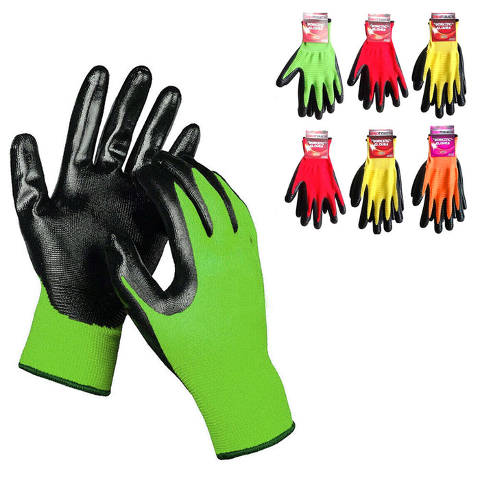 6 Pairs Safety Work Gloves Cut Resistant Nitrile Coated Heavy Duty Super Grip