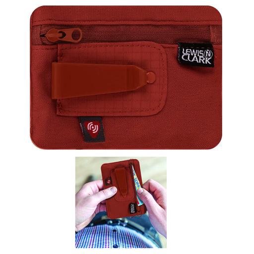 Lewis N Clark RFID Clip On Stash Pouch Wallet Travel Safe Security Id Holder Red