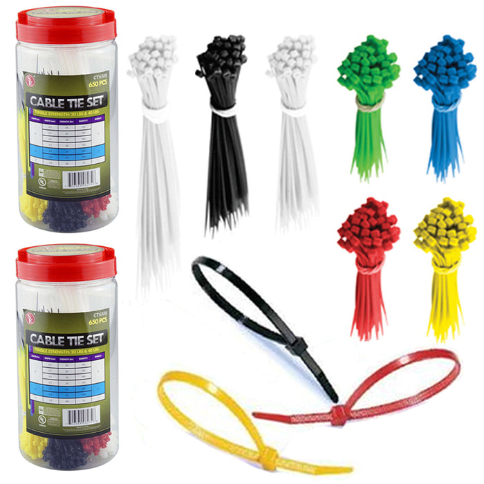1300 Cable Ties Assortment Colors Size Zip Tie Nylon Wire Hoses Electrical Cords