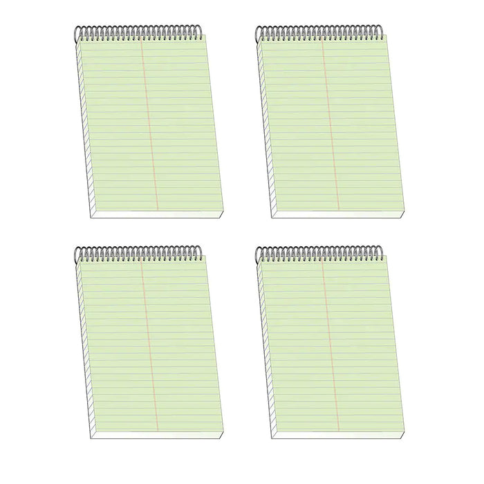 "4 BAZIC Steno Notebook 6"" X 9"" Green Tint Gregg Ruled Office Notepad Perforated"
