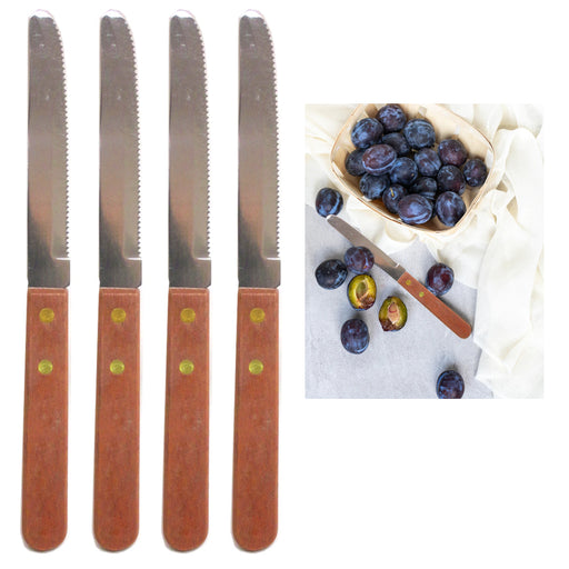4 Steak Knife Serrated Edge Steel Wooden Knives Stainless Steel Cutlery Utensil