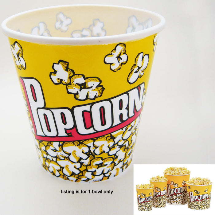 "Retro Style Reusable Popcorn Bowl Plastic Container Movie Theater Bucket 7"" Tall"
