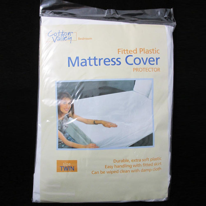 Twin Size Fitted Mattress Cover Vinyl Waterproof  Allergy Dust Bug Protector New