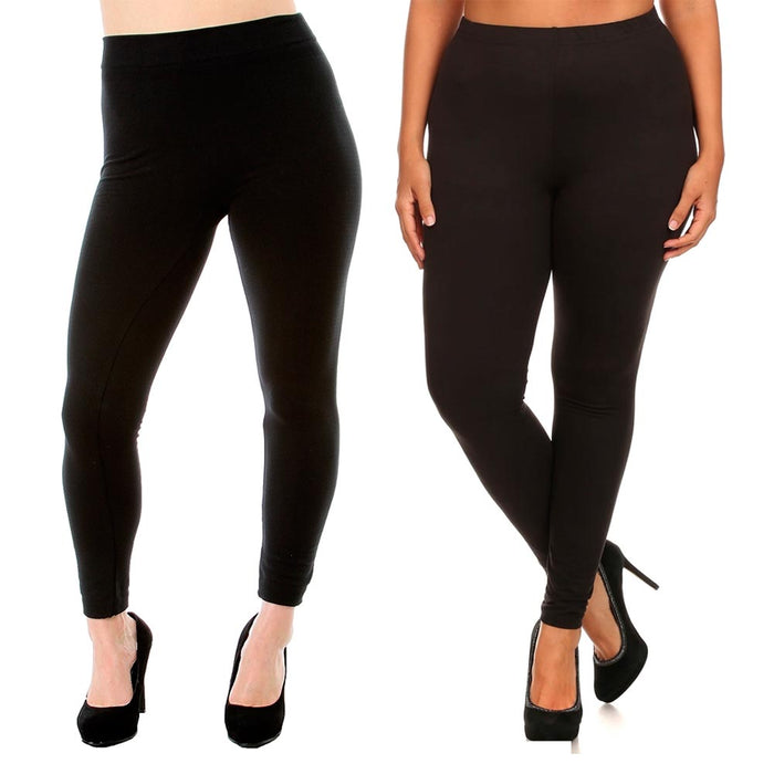 Black Leggings Plus One Size Fit Seamless Fleece Yoga Pants Stretchy Women