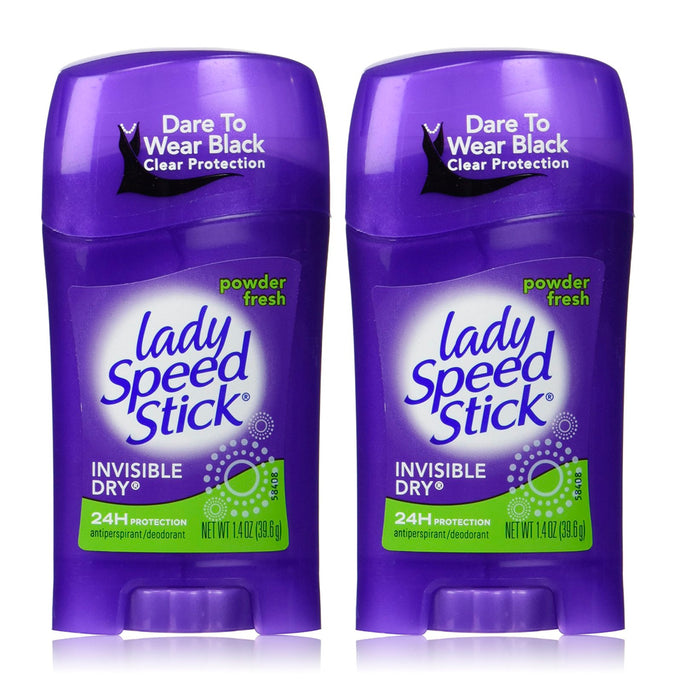 2Pk Lady Speed Stick Antiperspirant Deodorant Invisible Dry Powder Fresh 1.40 oz
