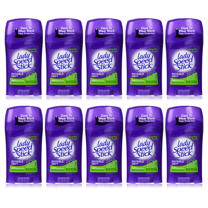 10 X Lady Speed Stick Invisible Dry 24hr Protection Deodorant Powder Fresh New !