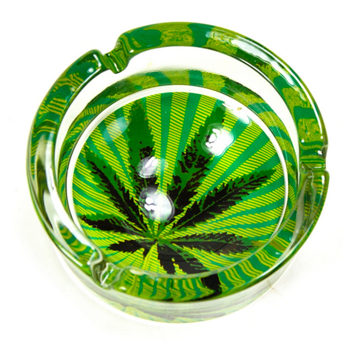 6 PC Marijuana Leaf Glass Ashtray Smoke Thc Cannabis Pot 420 Design Cigarette !