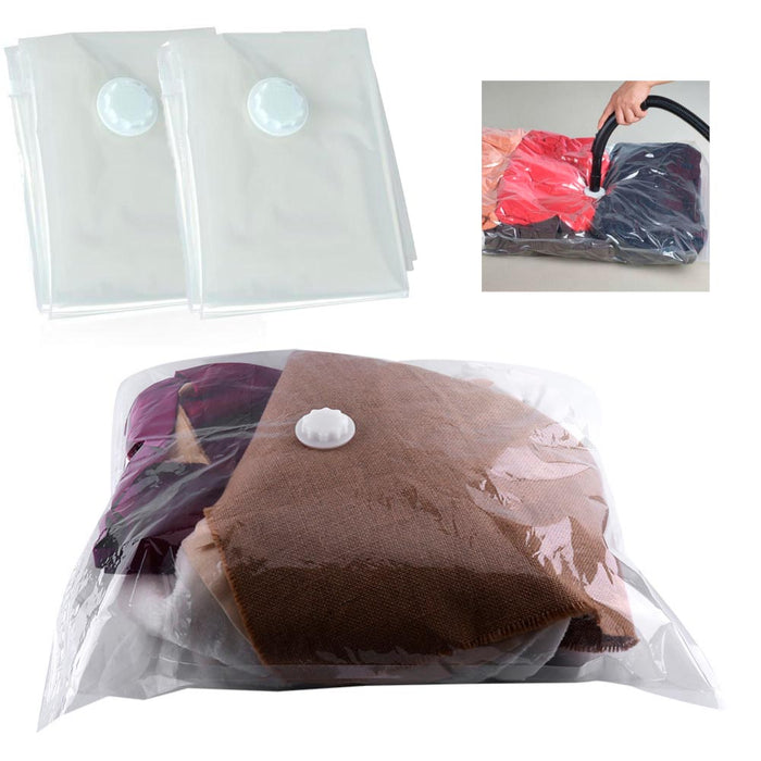 2 Pc Space Saver Bag Saving Vacuum Storage Seal Compression Organizer Travel !