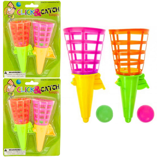 4 Click and Catch Ball Kid Games Party Favor Summer Fun Outdoor Indoor Game