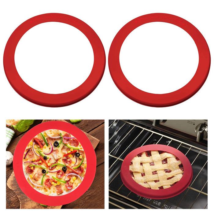 "2 Pc Silicone Pie Crust Shield Baking Fits 9.5"" to 10"" Reusable Pan Frozen Pizza"