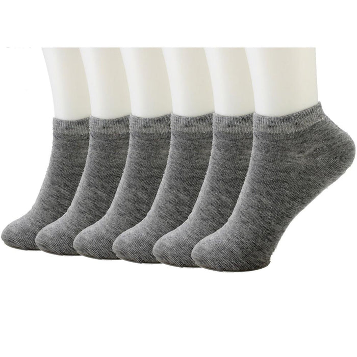 6 Pairs Ankle Socks Mens Womens Low Cut Crew Sports Shoe Size 10-13 Grey