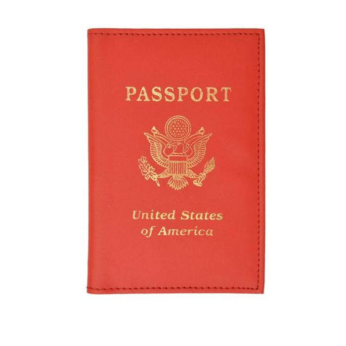 1 Genuine Leather USA America Seal Passport Cover Red Holder Case Travel Wallet