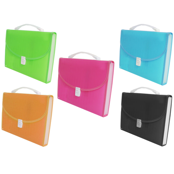 2 Large 13 Pocket Expanding File Folder Paper Organizer Accordion Holder Case