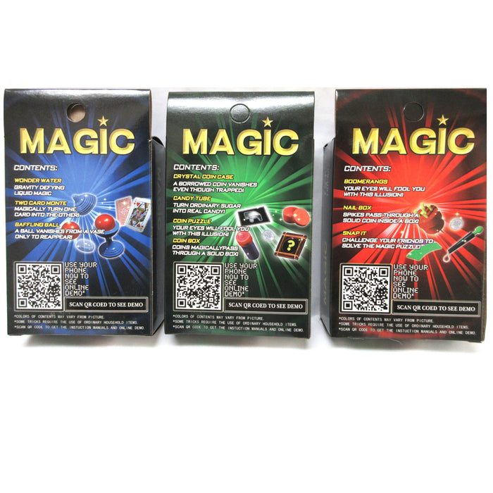 3 Packs Magic Tricks Game Set Kids Children Fun At Home Cards Puzzle Magician 6+