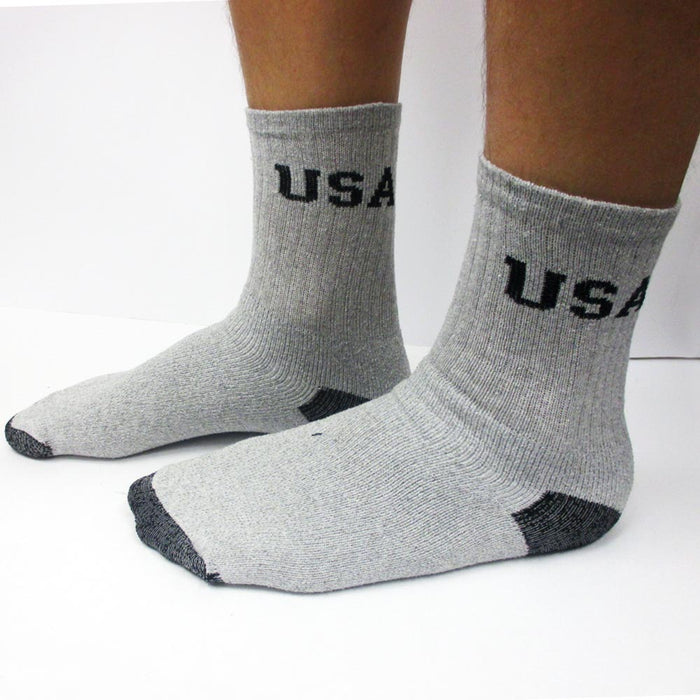 New 12 Pairs Mens USA Crew Socks Sports Cushioned Cotton USA Long Size 9-11 Grey
