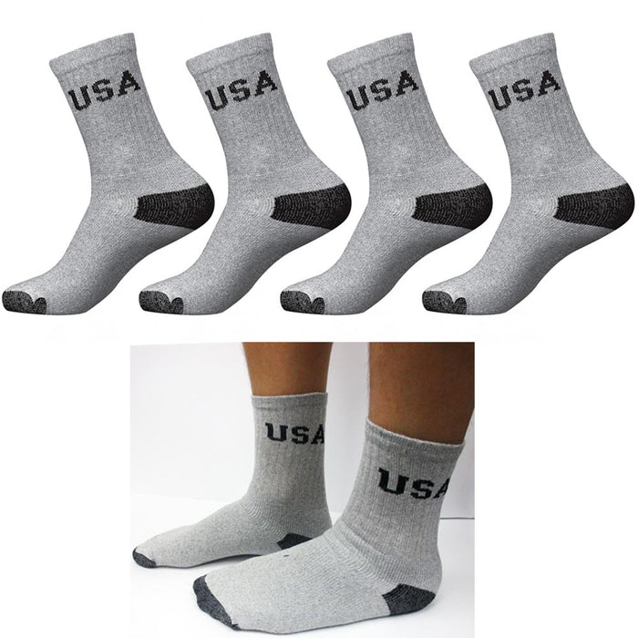 12 Pairs CREW Mens Solid Sports Socks Cotton 10-13 Grey Athletic Usa Long Tube