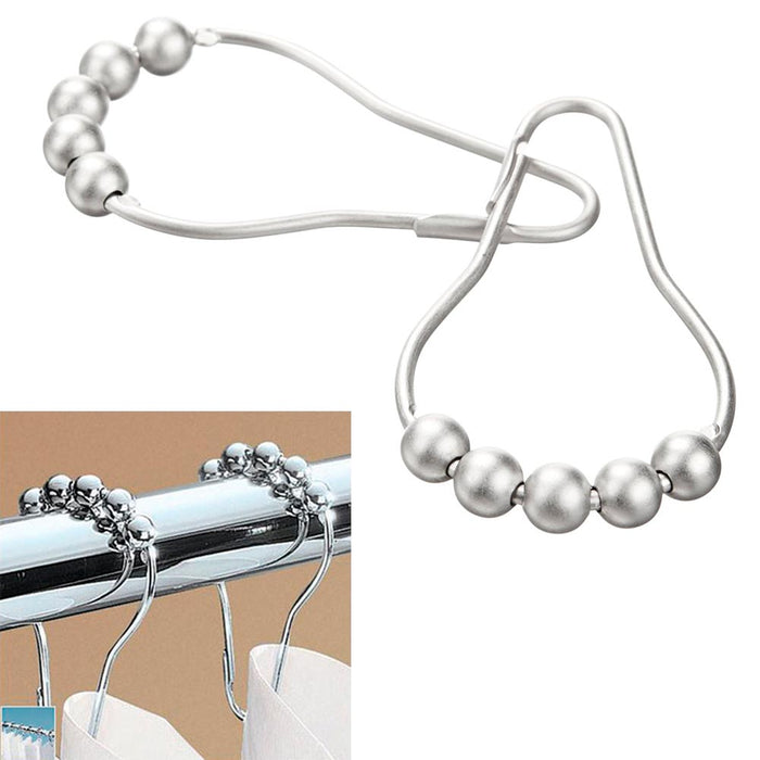 12 Pc Easy Glide Heavy Duty Hooks Decorative Shower Rod Curtain Rings Bathroom !