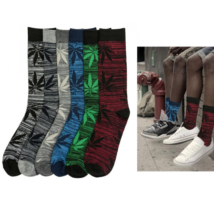 6 Pair Knocker Crew Socks Leaf Design Mens Casual Wear Work Size 10-13