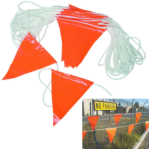 98' Hi Vis Orange Flag Rope Bunting Pennant Safety Garage Sale Sport Advertising