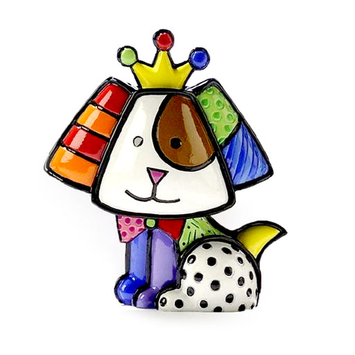 1 X Romero Britto Mini Dog Crown Royalty Ceramic Sculpture Colorful Figurine Art