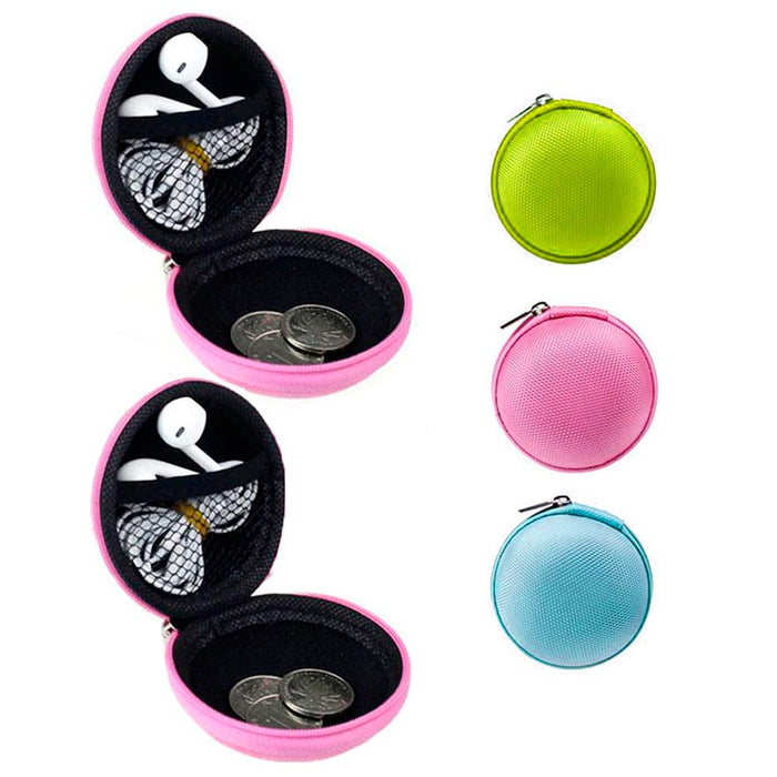 2 Pc Round Zipper Pouch Key Ring Chain Case Mini Purse Coin Change Wallet Bag
