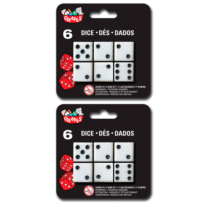 Set of 12 Six Sided Square Opaque Dice White With Black Pip P6 Die D6 Game Lot