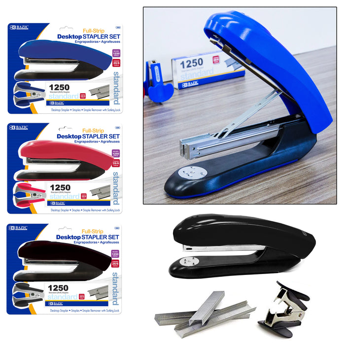 2 Sets BAZIC Stapler 1250ct Refill Staple Handheld Paper Office Desktop Standard
