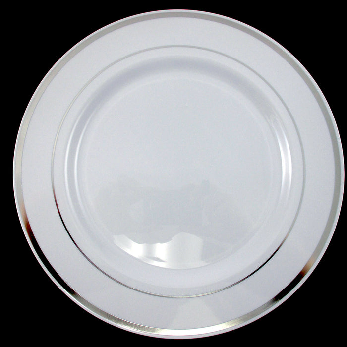 60 People Dinner Wedding Disposable Plastic Plates Party Silverware Silver Rim