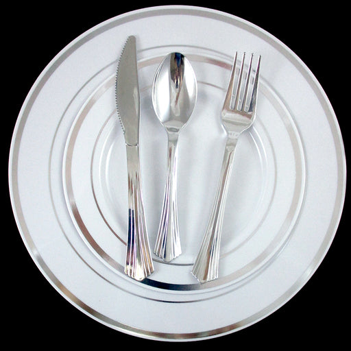 90 People Dinner Wedding Disposable Plastic Plates Party Silverware Silver Rim