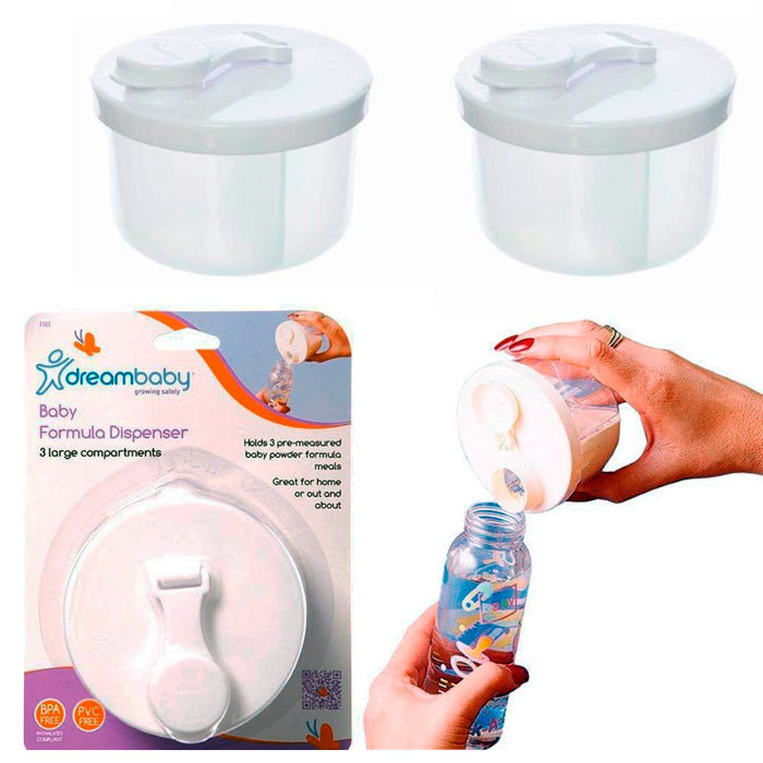 2 Pc Dreambaby Infant Baby Kids Milk Powder Formula Dispenser Storage BPA Free