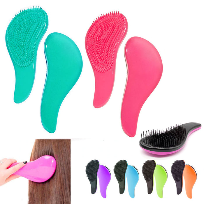 3 Detangling Brushes Wet Dry Hair Brush Magic Handle Tangle Salon Styling Shower