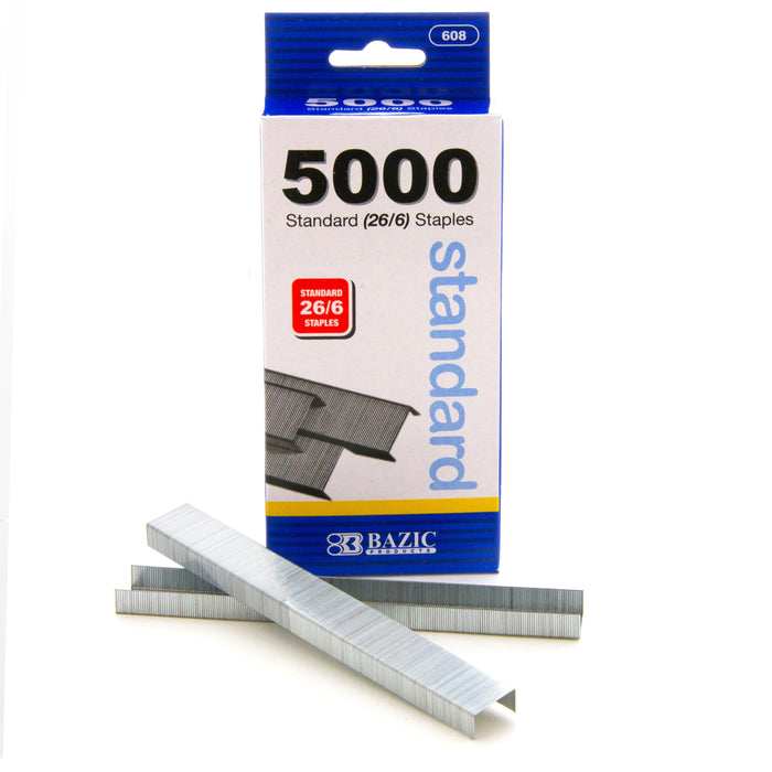 5000 Ct Standard Staples (26/6) Chisel Point Home School Office Paper Supplies