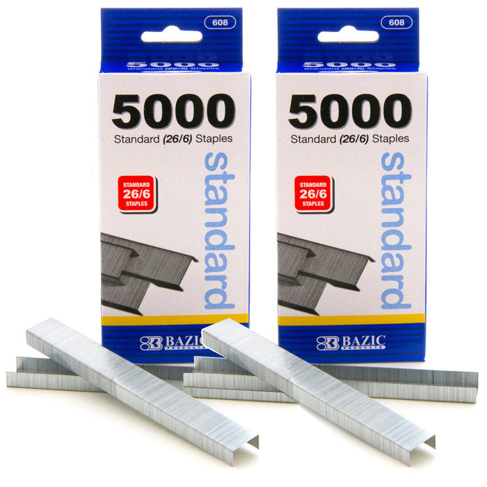 10000 Ct Standard Staples (26/6) Chisel Point Home School Office Paper Supplies