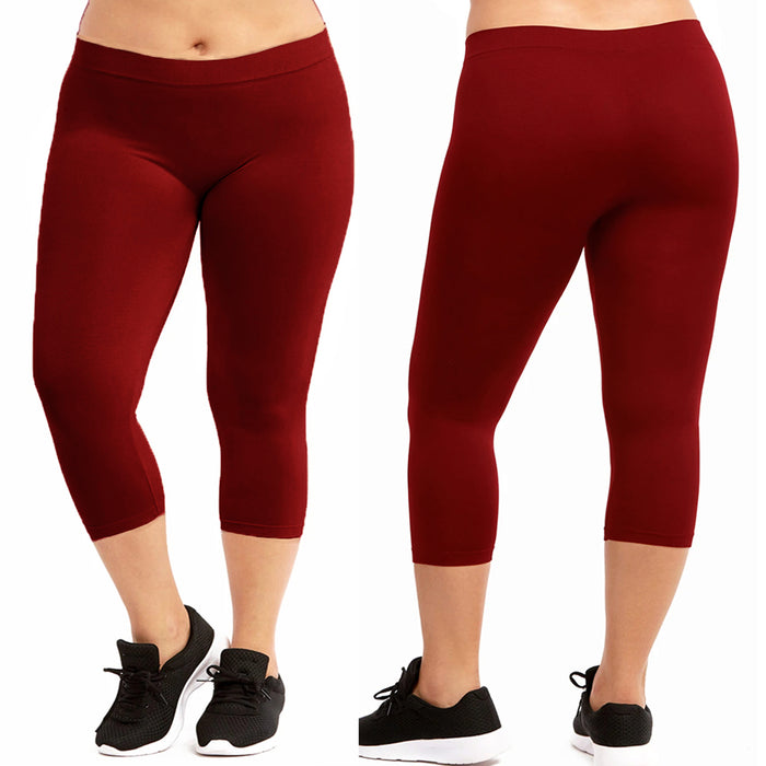 Women Seamless Plus One Size Footless Stretch Yoga Pants Capri Leggings Dark Red