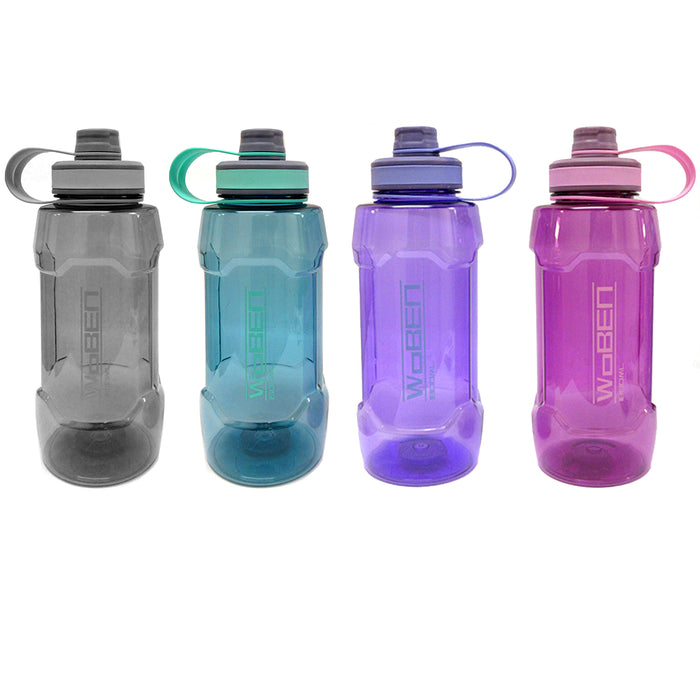 2 Extra Large Sports Water Bottle 1800mL Wide Mouth Plastic Bicycle Travel 60oz