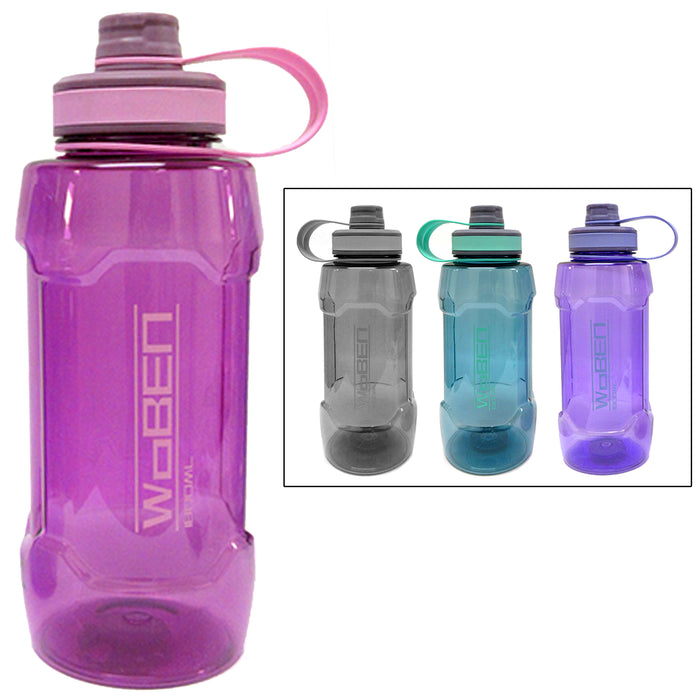 1 Extra Large Sports Water Bottle 1800mL Wide Mouth Plastic Bicycle Travel 60oz